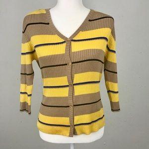 ESCDA Stripe Silk Blend Knit Cardigan Top L